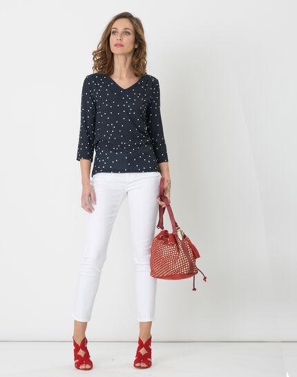 Nao dual fabric navy blue T-shirt (3) - 1-2-3