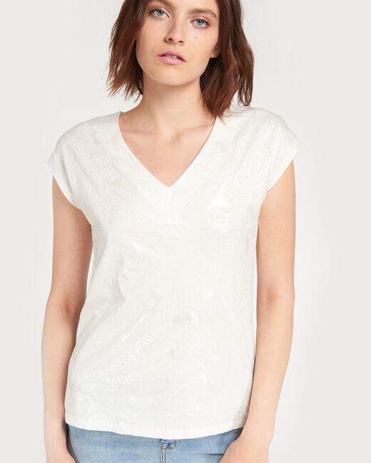 Nalma ecru T-shirt with flower print (1) - 1-2-3