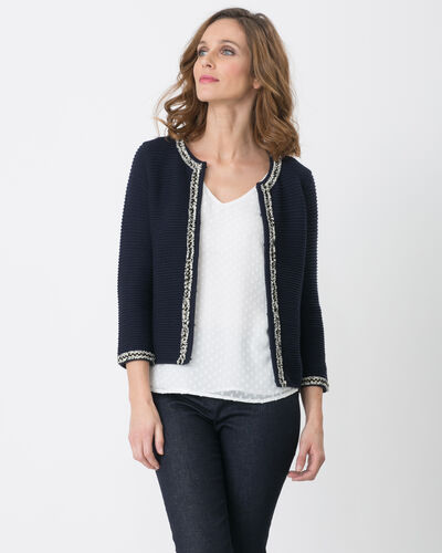 Hariette navy blue sweater in a decorative fabric (2) - 1-2-3