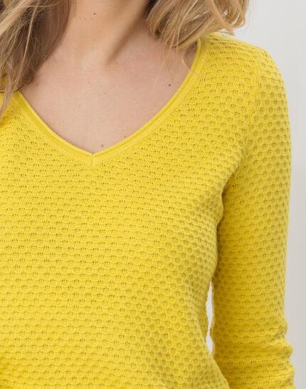 Heidi yellow sweater with stunning stitchwork (4) - 1-2-3