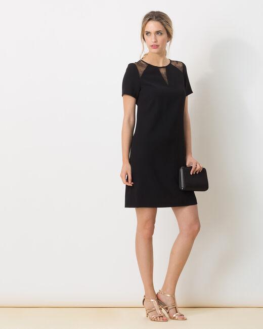 Bijou dual-fabric black dress (1) - 1-2-3