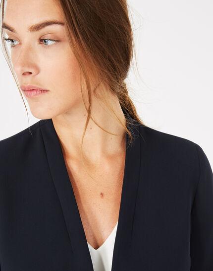 Majeste navy blue mid-length tailored jacket (4) - 1-2-3