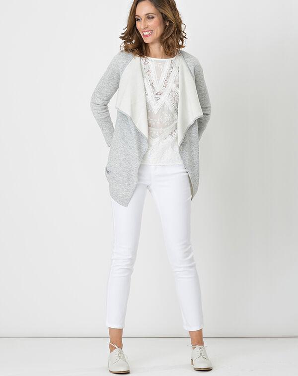 Pantalon blanc enduit 7/8 oliver à