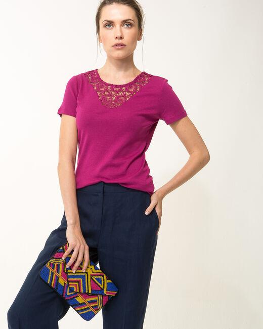 Tee-shirt fuchsia col dentelle Nastasia (2) - 1-2-3