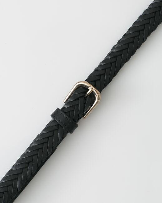 Ceinture tressée noire en cuir Yoyo (2) - 1-2-3