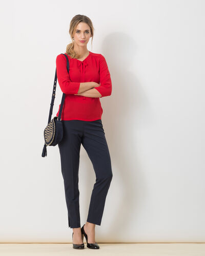 Lipstick red T-Shirt with bow neckline (2) - 1-2-3
