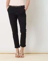 Diane black 7/8 length tapered trousers with belt black.