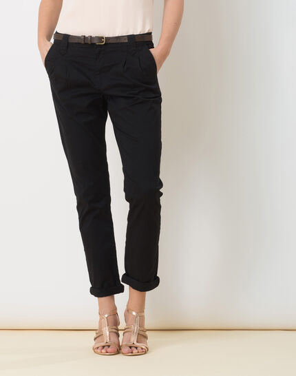 Diane black 7/8 length tapered trousers with belt PhotoZ | 1-2-3