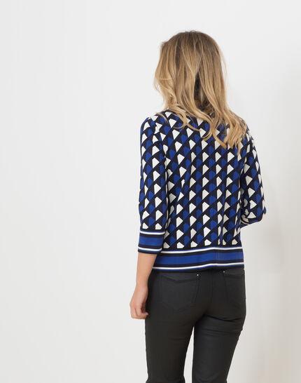 Tee-shirt bleu imprimé Losange (4) - 1-2-3