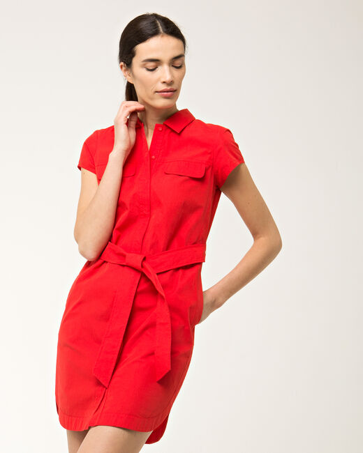 Robe chemisier rouge en coton Bogota (2) - 1-2-3