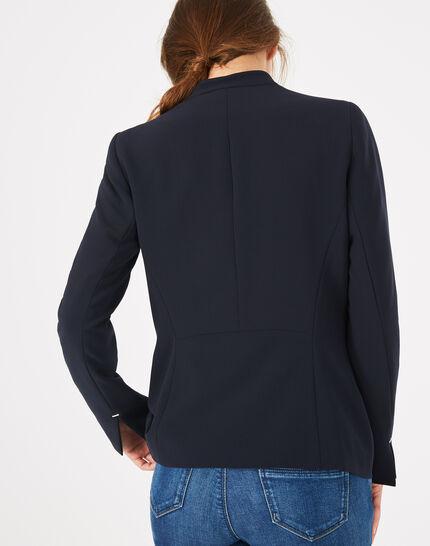 Majeste navy blue mid-length tailored jacket (5) - 1-2-3