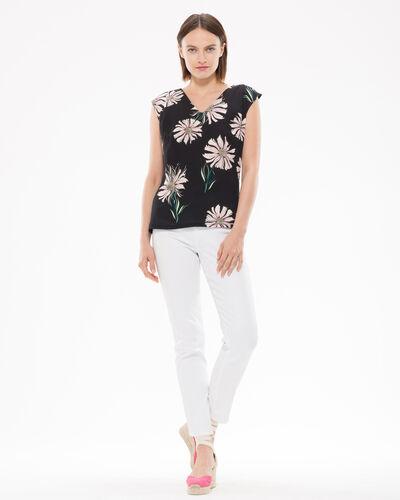 Tee-shirt noir imprimé fleuri Narguerite (2) - 1-2-3