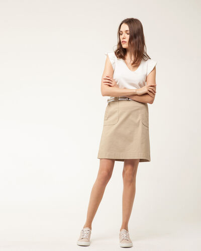 Camille belted beige straight-cut skirt (1) - 1-2-3