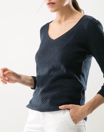 Heidi blue sweater with stunning stitchwork (5) - 1-2-3