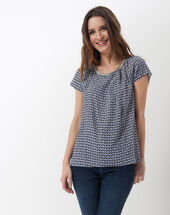 Emeraude blue printed blouse navy.
