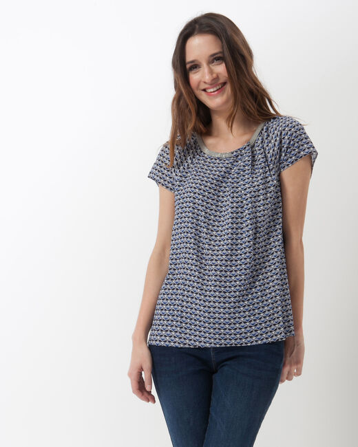 Emeraude blue printed blouse (1) - 1-2-3