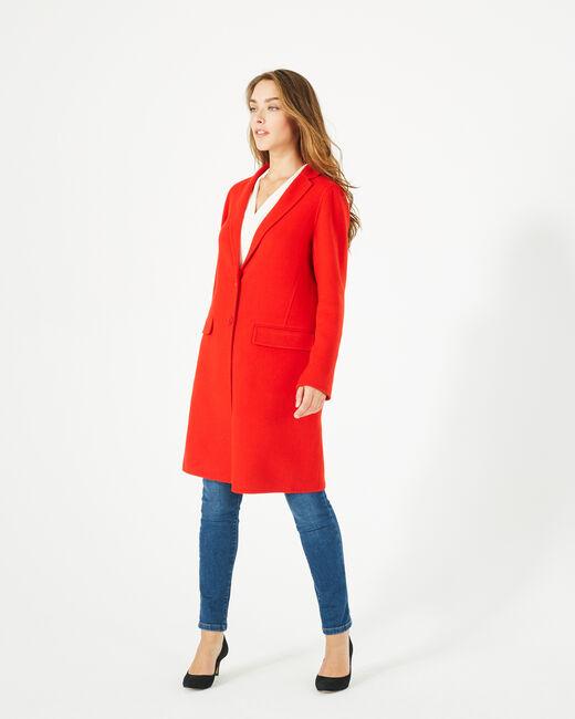Manteau mi-long rouge en laine mélangée Jack (1) - 1-2-3