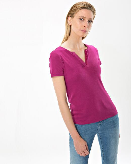 Nirvana fuchsia T-shirt with diamanté neckline (2) - 1-2-3