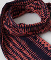 Salvatore coral cotton printed scarf PhotoZ | 1-2-3