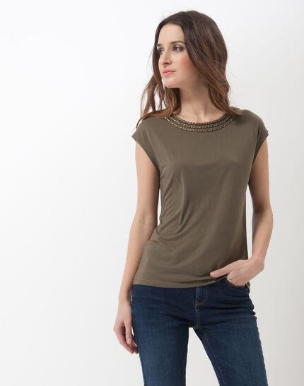 Natte khaki T-shirt with braided collar PhotoZ | 1-2-3