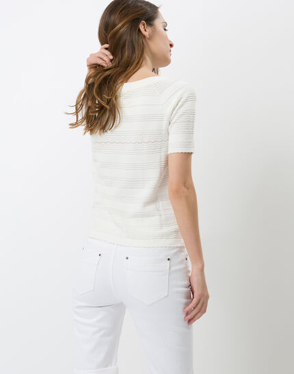 Hélène ecru sweater with stitching detail (4) - 1-2-3