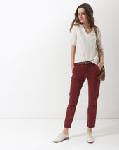 Denis 7/8 length terracotta trousers with large combat-style pockets terracotta.