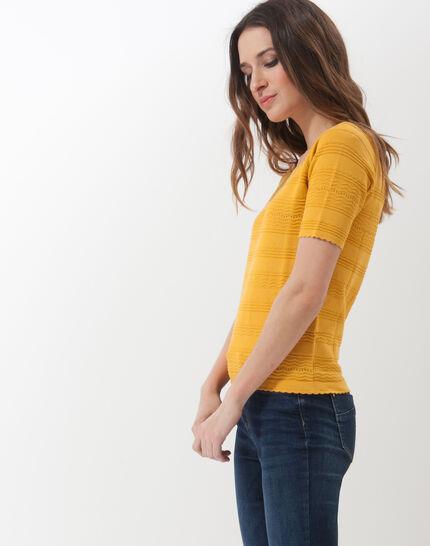 Hélène ochre sweater with stitching detail (3) - 1-2-3