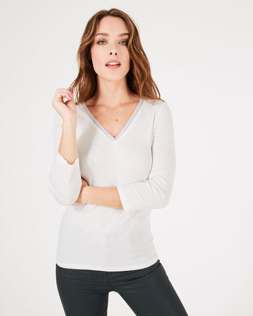 Neck ecru T-shirt with diamanté neckline (2) - 1-2-3
