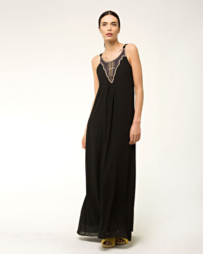 Bright long black embroidered dress (1) - 1-2-3