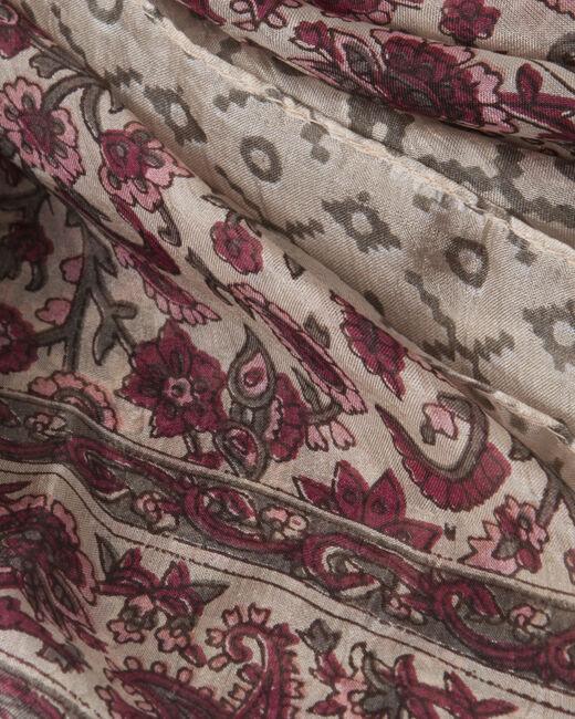 Suzon fuchsia silk printed scarf (2) - 1-2-3