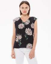 Narguerite black t-shirt with floral print black.