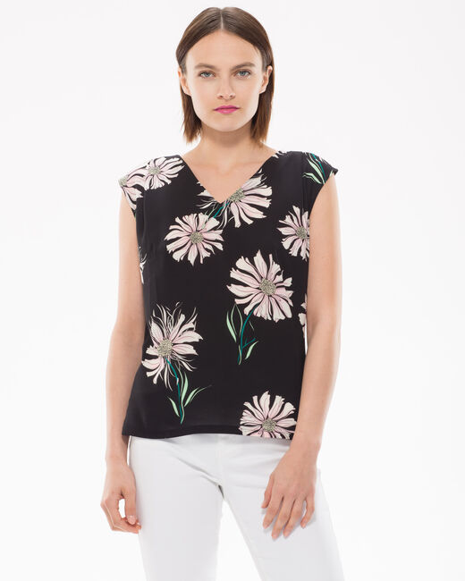 Narguerite black T-shirt with floral print (1) - 1-2-3