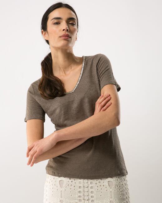 Tee-shirt kaki col perles Nice (2) - 1-2-3