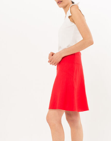 Clairon short red linen skirt (3) - 1-2-3