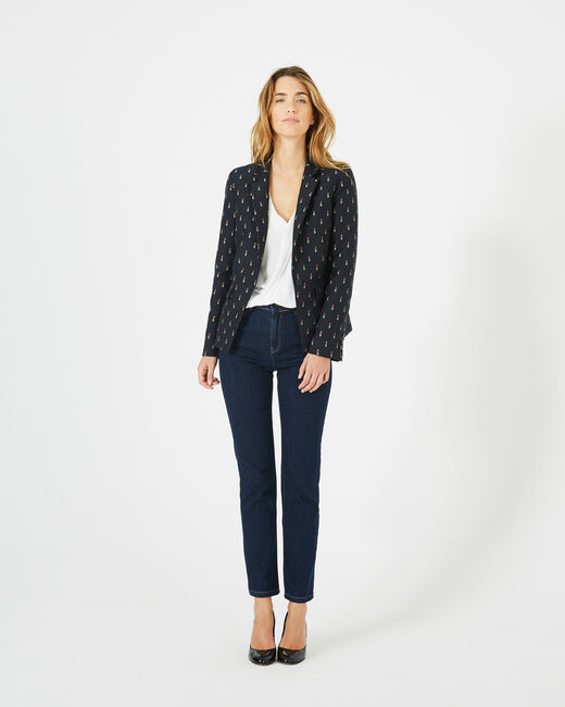 Mirage navy blue tailored jacket with lipstick print (1) - 1-2-3
