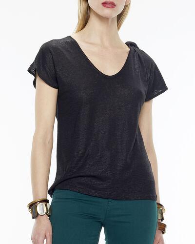 Tee-shirt noir en lin Nuba (1) - 1-2-3