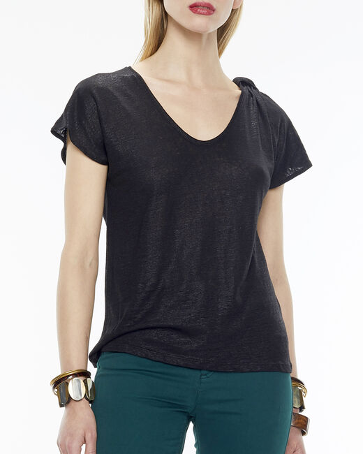 Nuba linen T-Shirt in black (1) - 1-2-3