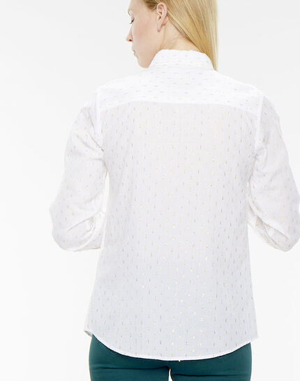 Ella ecru shirt embroidered with Lurex yarn (4) - 1-2-3
