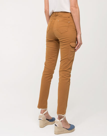 Damien 7/8 length camel trousers with large combat-style pockets (4) - 1-2-3