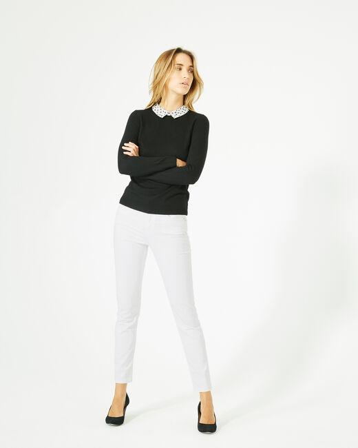 Pretty black sweater with stylish neckline (1) - 1-2-3