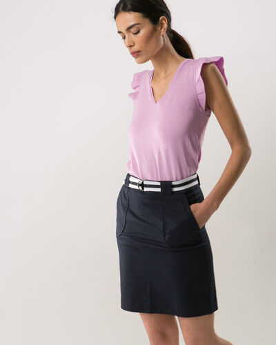 Camille belted blue straight-cut skirt (2) - 1-2-3