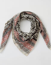 Silly red printed scarf in cotton red.