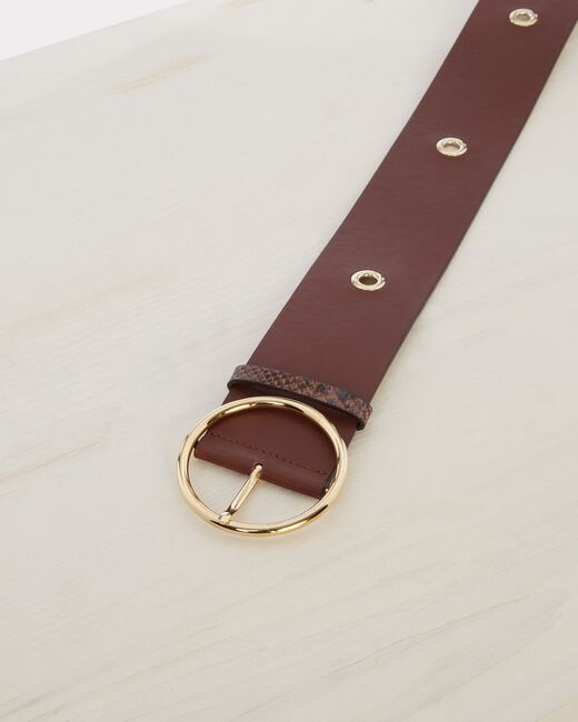 Ohana wide brown leather belt (2) - 1-2-3