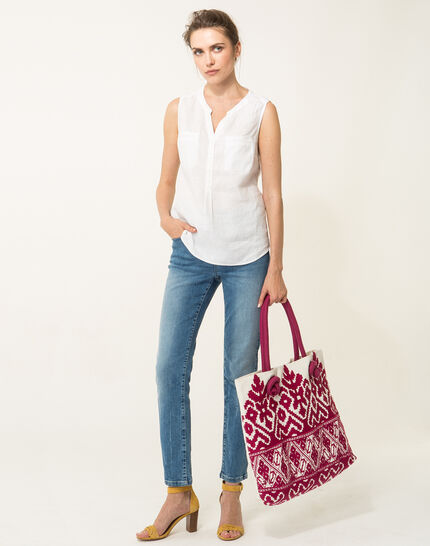 Elise ecru linen sleeveless blouse  (2) - 1-2-3