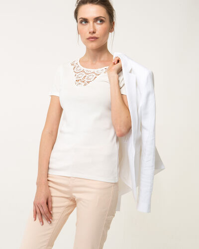 Tee-shirt écru col dentelle Nastasia (1) - 1-2-3