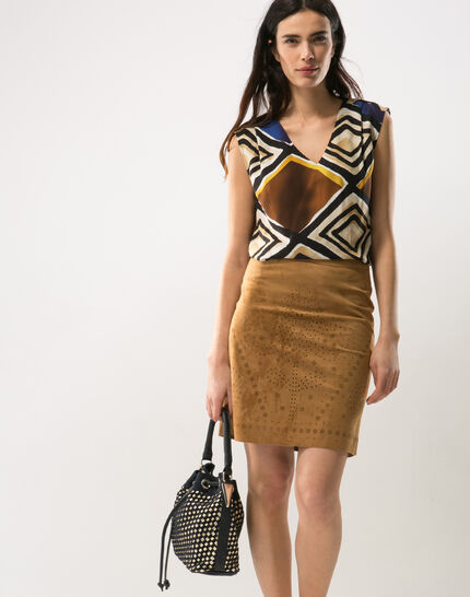 Deco perforated camel skirt (2) - 1-2-3