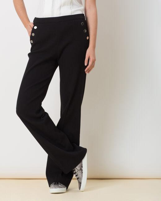 Pantalon noir fluide matière piquée Rafia (2) - 1-2-3