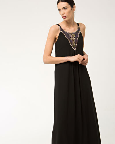 Bright long black embroidered dress (2) - 1-2-3