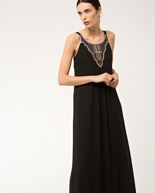 Robe longue noire brodée Bright (2) - 1-2-3