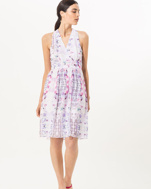 Florane printed dress in lilac (1) - 1-2-3